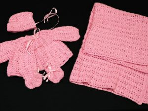 Baby Sweater Set and Afghan